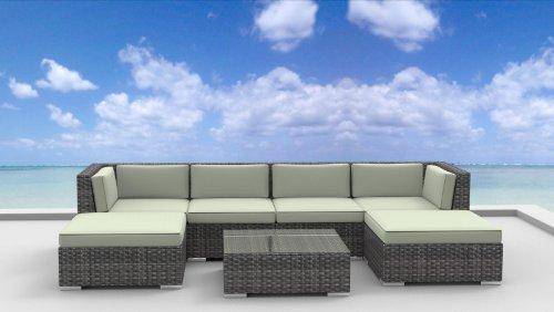 Hot Sale Urban Furnishing - MAUI Ultra Modern Outdoor Backyard Wicker Patio Furniture Sofa Sectional 7pc All-Weather Couch Set - beige