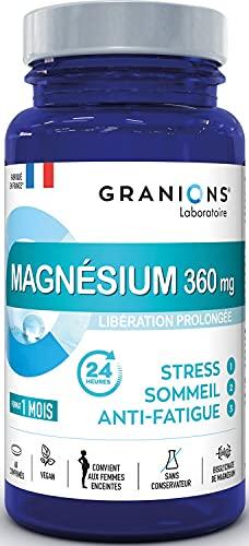 GRANIONS MAGNESIUM 360 mg + Vitamine B6 - Bisglycinate haute biodisponibilité - Libération prolongée 24H - 3 actions : STRESS SOMMEIL ANTI-FATIGUE - Femmes enceintes - 60 comprimés - Made in France