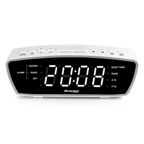 Radio Réveil Simple Reacher avec Port Chargeur USB, Radio FM, gradateur, 6 Sieste Toutes Les 9 Minutes, Volume d'alarme réglable pour Les dormeurs Lourds, pour Chambres à Coucher (Blanc)