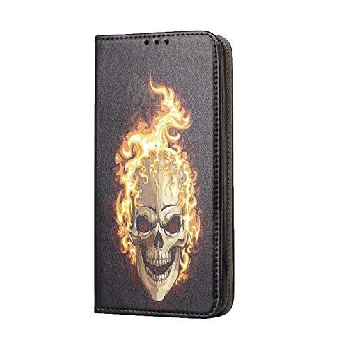 Hülle für LG K61 Handyhülle Motiv 614 Totenkopf Skull Flammen Schwarz Premium Smart aus Kunstleder einseitig Bedruckt HandyCover Handyhülle für LG K61 Hülle