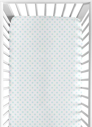 Sweet Jojo Designs Blue and White Polka Dot Girl Fitted Crib Sheet Baby or Toddler Bed Nursery – Watercolor Floral Shabby Chic Collection