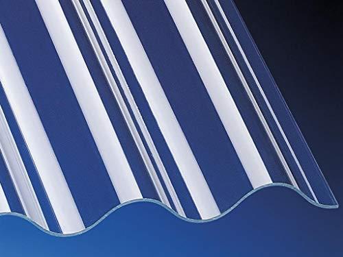 Highlux® Acrylglas-Profilplatte Wellplatte Lichtplatte (Plexiglas®-Rohmasse), 3mm Stark, Sinus 76/18, glasklar, glatt 1045mm x 3000mm
