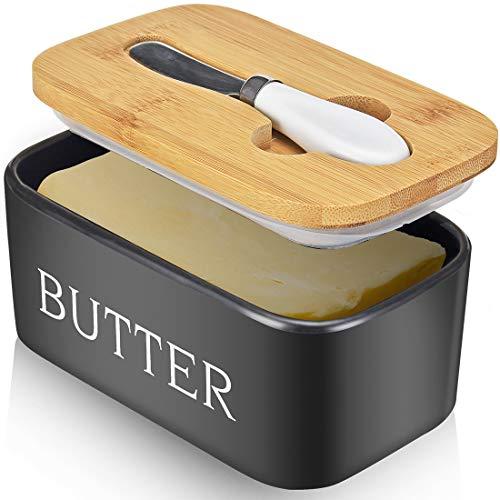 Plato grande para mantequilla con cuchillo con capacidad para hasta 2 palos, cerámica con tapa de bambú y acero inoxidable, doble capa, silicona selladora con tapas, buen regalo de cocina, color negro
