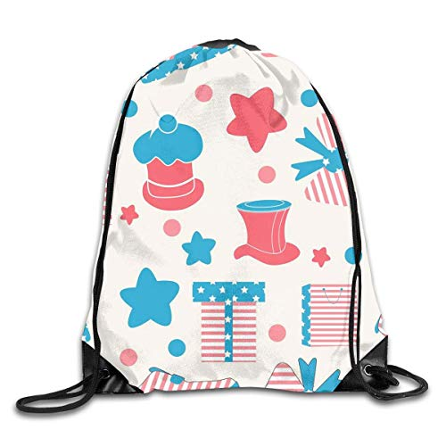 uykjuykj Drawstring Backpack Bag Independence Day Rucksack for Gym Travel Color 04 Lightweight Unique 17x14 IN