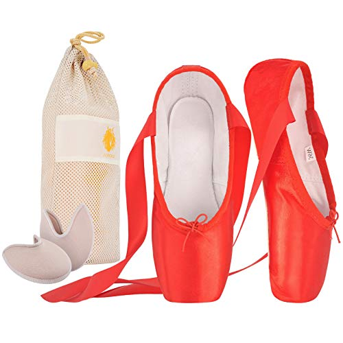 IJONDA Adult Ballet Pointe Shoes for Girls Women with Toe Pads with Toe Pads and Mesh Bag(Red+STP, Size 9)