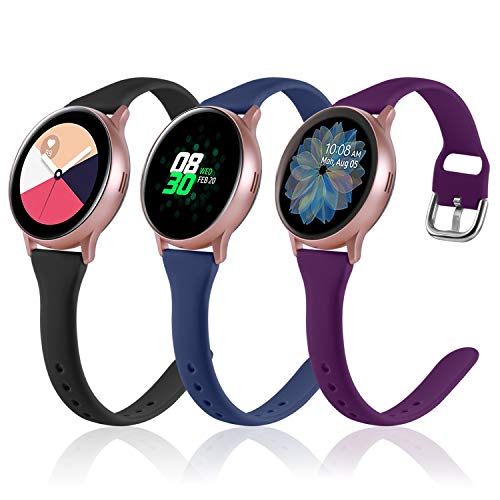 (3 Pack) Vcegari Slim Band for Samsung Active 2 Watch 40mm 44mm, Galaxy Watch 3 41mm/Galaxy Watch 42mm/Gear S2 Classic/Gear Sport Bands, 20mm Silicone Strap for Women Men, Black/Navy/Plum, Small