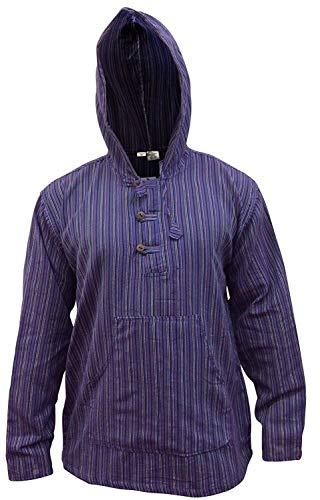 Shopoholic modisches Opa-Hemd mit Kapuze, mehrfarbig, dunkle Streifen, leicht im Gewicht Gr. XXXL, PURPLE MIX