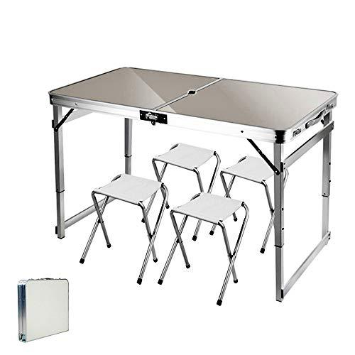ARG Mesa y sillas plegables para exteriores, ajustable, con agujero para sombrilla, para camping, picnic, fiesta, barbacoa, trabajo (juego gris plateado)