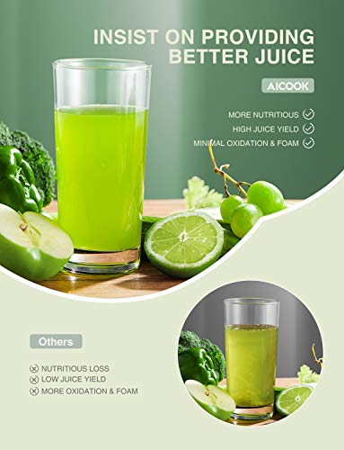 Juicer Machines, Aicook Cold Press Masticating Juicer with Quiet Motor, Easy to Clean with Brush, Higher Juice Yield… |