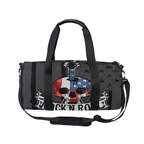MNSRUU Reisetasche mit Totenkopf-Motiv mit amerikanischer Flagge, Unisex, hohe Kapazität, großes Gepäck, Sporttasche