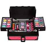 Lil Me Pretend Play Makeup for Princess Girls Two Tiered Cosmetic Set in Sturdy Hot Pink Travel Case, Non-Toxic, Washable Makeup Kit