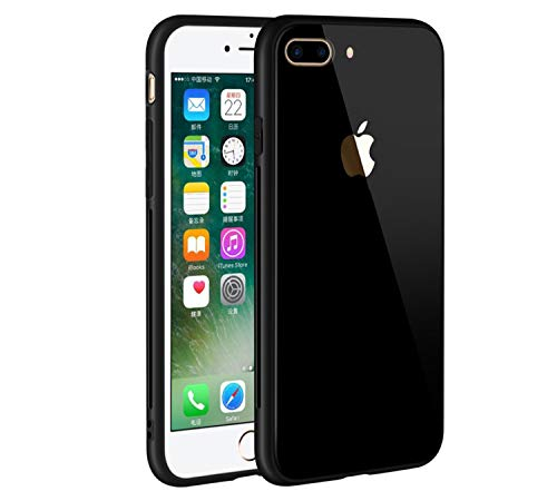 Roxel Apple iPhone 7 Plus (Black, 32 GB) Case Tempered Glass Back Soft TPU Bumper Anti-Scratch Shockproof Drop Protection Pure Color Slim Fit Cover for Apple iPhone 7 Plus, Black