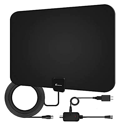 Indoor HD TV Antenna, 2019 Upgraded Digital Amplified 60-90 Mile Range HDTV Antenna 4K HD VHF UHF Freeview Television Local Channels Detachable Signal Amplifier and 16.5ft Longer Coax Cable