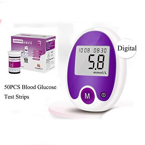 CYYYY Blutzuckermessgerät,Digital-Blutzuckermessgerät mit großer LCD-Schirm mit 50PCS Blutzuckerteststreifen