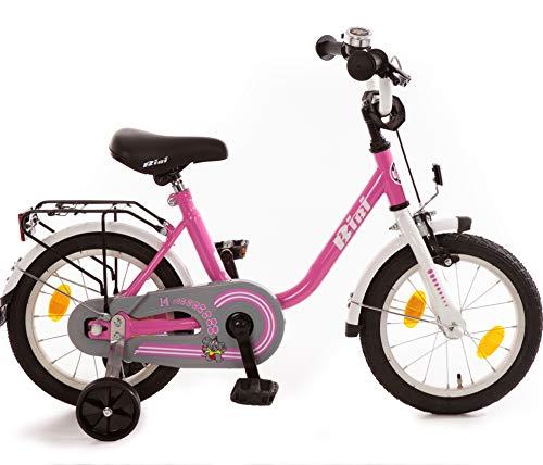 Bibi Kinderfahrrad 14 Zoll mit Rücktrittbremse und Stützrädern Fahrrad für Kinder Junge Mädchen Kinderrad Pink