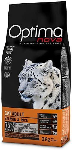 Optima Nova - Pienso para gatos adultos salmón y arroz 2 kg