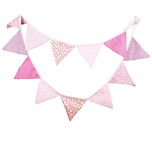 Demarkt 12 Beautiful Colourful Garland Bunting for Outdoor Decoration with Flower Pictures Cotton Total Length 3.2 m (Rosa)
