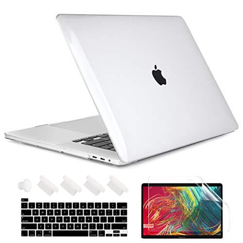 TwoL MacBook Pro 13 ケース 2020 2019 2018 2017 2016 (A2238 M1/A2289/A2251/A2159/A1989/A1706), 薄型 軽量 耐衝撃 ハードカバー+キーボードカバー(US英字) 新しい Mac Pro 13 インチ Touch Bar搭載対応, クリア