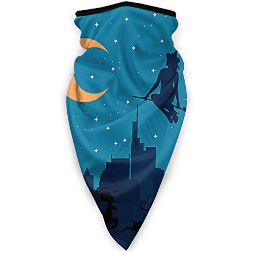 Heks Befana vliegen over de stad Kerstmis Outdoor Gezicht Mond Mask Winddicht Sport Masker Ski Masker Schild Sjaal Bandana Mannen Vrouw
