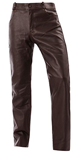 Bangla Lederhose Jeans Leder Motorrad 5-Pocket Style 1507 Braun Inch 42