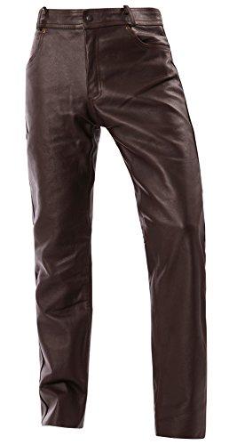 Bangla motorbroek heren bikerjeans leren broek 5-Pocket Style 1507 bruin