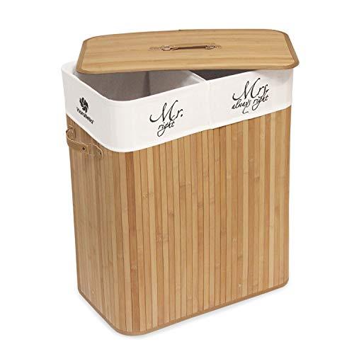 Klarabella Cesta de lavandería de bambú plegable de 100 L con asas de transporte con 2 compartimentos separados para ropa clara y oscura [Infierno / Dunkel]