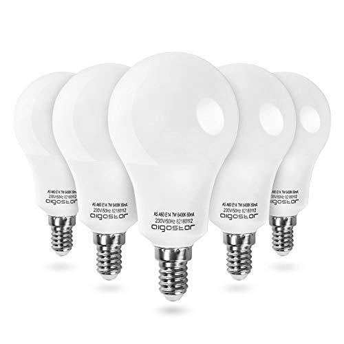 Leuchtmittel E14 LED Glühbirne Lampe 7W Kaltweiß, Tropfen, 595 Lumen 6400K Abstrahlwinkel 280°, Birnen Cool White, 5 Stücke Nicht Dimmbar