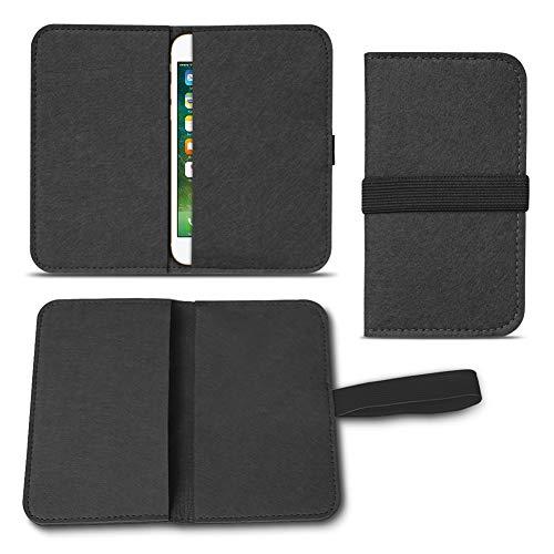 UC-Express Filz Hülle kompatibel für Apple iPhone 12 11 Pro Max Xs Xr X Max 7/8 Plus Smartphones Cover Tasche Hülle Flip Filztasche mit Kartenfach mit Straffen Gummiband, Farbe:Schwarz