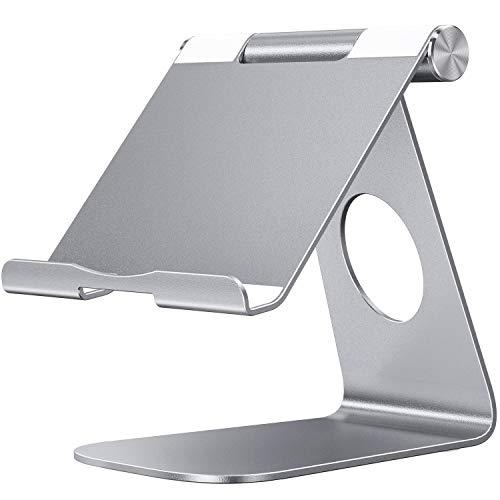 OMOTON Soporte para Tablet, Multi-Ángulo Ajustable Soporte de Aluminio para 2019 iPad Pro 9.7/10.2/10.5/12.9, iPad Mini 2/3 /4, Samsung y Otras Tablets, Máximo 13 Pulgadas, Gris