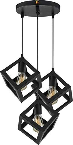 R@DIANT Metal 3 Lights Cube Hanging Chandelier with 3 Bulbs for Drawing Room, Living-Room, Home Decor(Black)