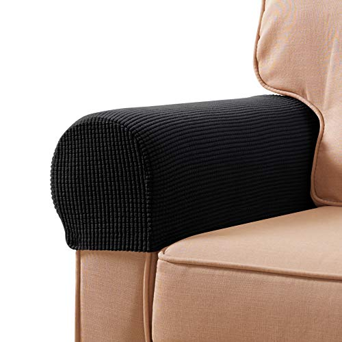 subrtex Stretch Armrest Covers Spandex Anti-Slip Arm Covers for Chairs Sofa Armchair Slipcovers for Recliner Sofa with Twist Pins (Black)