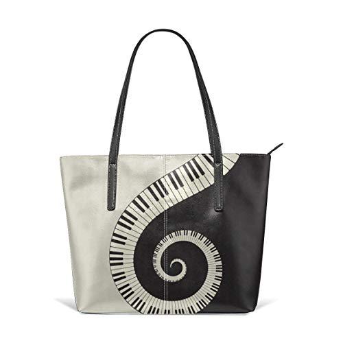 XGBags Custom Frauen Umhängetaschen Women's Soft Leather Tote Shoulder Bag, Big Capacity Tassel Handbag - Piano Keyboard Wallpaper