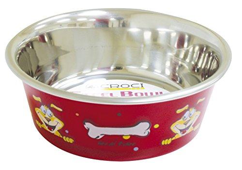 Croci Bol Woof en Acier pour Chat Rouge 1500 ml/21 cm