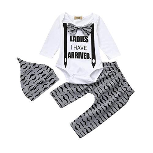 Ropa Bebé,❤️ Modaworld 3 Pcs Conjuntos de Ropa Bebé Niños Niñas Recién Nacido Mameluco Monos Camiseta Camisas de Manga Larga + Pantalones + Sombrero