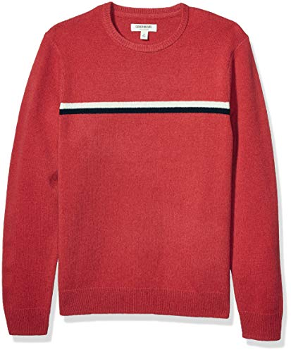 Amazon Brand - Goodthreads Men's Lambswool Stripe Crewneck Sweater, Red Navy Chest, XXX-Large Tall