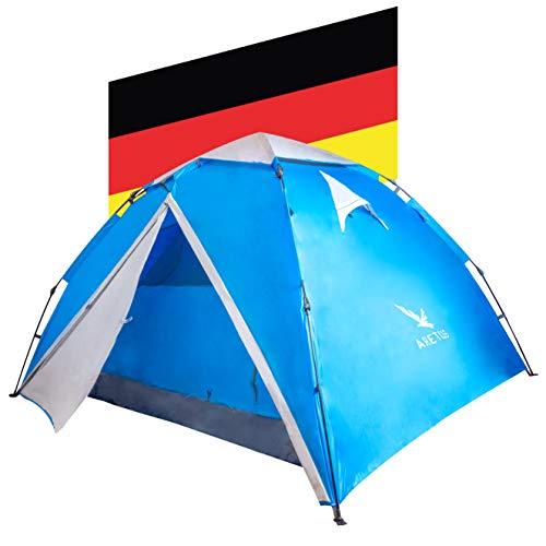 Aretus - Wurfzelt 2 - 4 Personen AUF-ABBAU IN 45 SEKUNDEN -Extra Groß & Wasserdicht- Pop up Zelt 3 Person automatik Wurfzelt 3 personen mann zelte