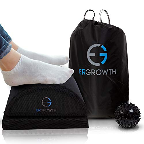 Ergonomic Foot Rest Under Desk Adjustable Height - Non-Slip Bottom, Travel Bag, Handle and Massage Ball with The Footrest for Desk by Ergrowth