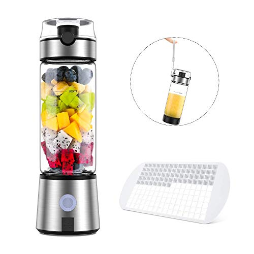 Ayyie Personal, Rechargeable Portable Juicer Cup, Multifunctional Small Blender for Shakes and Smoothies, with 15oz, Silver