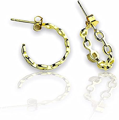 Pendientes gruesos de cadena de oro de 18 quilates, pequeños aros de oro gruesos, finos y minimalistas, simples aretes de aro pequeños, bohemios delicados, EB58, Without Gift Box, dorado,