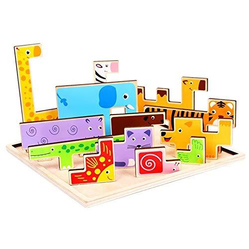 Chyuanhua Puzzle Spielzeug Intellectual 3D-Puzzle-Brett for Junge Mädchen 3D-Puzzle-Spiel Spielzeug Tetris Holz Tier Puzzle Für Kinder Geeignet (Color : Multi-Colored, Size : One Size)