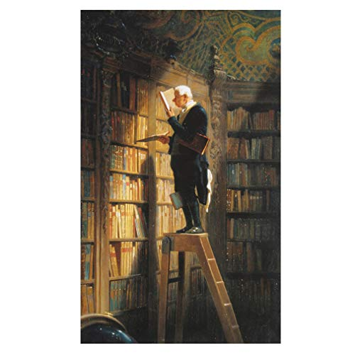 Legendarte Carl Spitzweg Der Bücherwurm Kunstdruck auf Leinwand, cm. 60x100