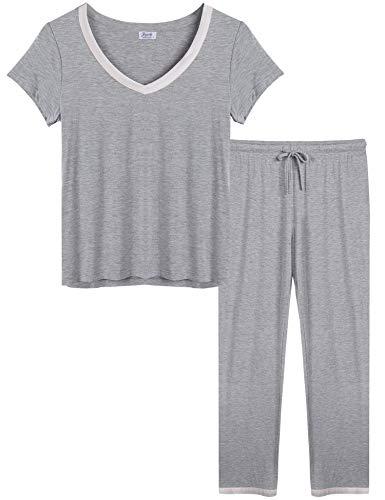 Joyaria Women's Bamboo Pajama Wicking Sleepwear Short Sleeves Top with Pants Set Plus Size (Gray,XXL)