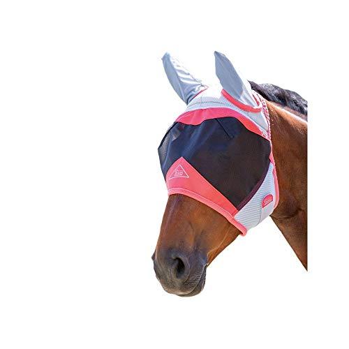 Shires Air Motion Fliegenmaske für Pferde, mit Ohren, UV-Schutz, extra voll, Koralle