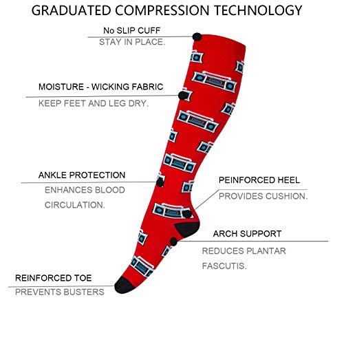 Compression Socks for Men & Women (6Pair) Non-Slip Long Tube Ideal for Running,Nursing,Circulation & Recovery Boost Stamina, Hiking Travel & Flight Socks 20-30 mmHg