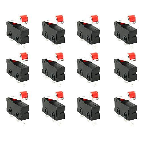 CESFONJER 12 PCS Micro-Roller Palanca Brazo Abierto Cierre Limite Interruptor 125V – 250V 5A PCB Microinterruptor
