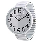 Geneva Super Large Stretch Watch Clear Number Easy Read (White)