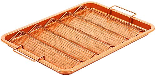 Copper Chef Oven Crisper Tray for Bacon & More | Baking Sheet & Air Crisper Pan | Use Hot Air to Crisp & Fry Bacon Without Oil or Fat | Non Stick & Dishwasher Safe 13' X 11'