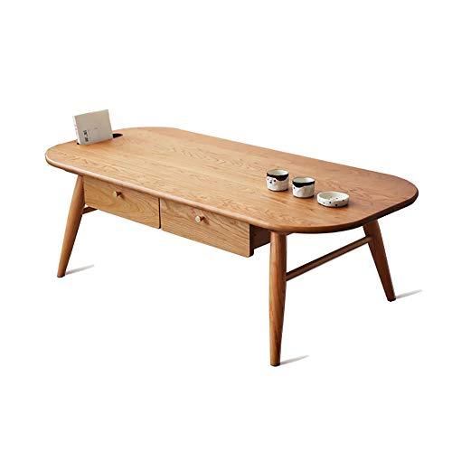 WENCY kleine salontafel kersenhout met laden en zakken opbergruimte afgerond ontwerp geschikt voor woonkamer
