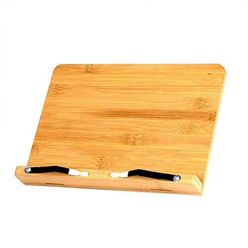 Soporte de Lectura de Madera, Soporte de Recetas de Bambú, Soporte para Libros de Cocina de Bambú con Soporte Plegable, para Libros,Documentos,iPad,Tabletas o Teléfonos Inteligentes