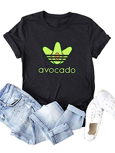 Festnight Damen Sommer Kurzarm T-Shirt, Damen Avocado T-Shirts mit Buchstaben-Print Kurzarm Rundhalsausschnitt Baumwolle Sommer Plus Size T-Shirts